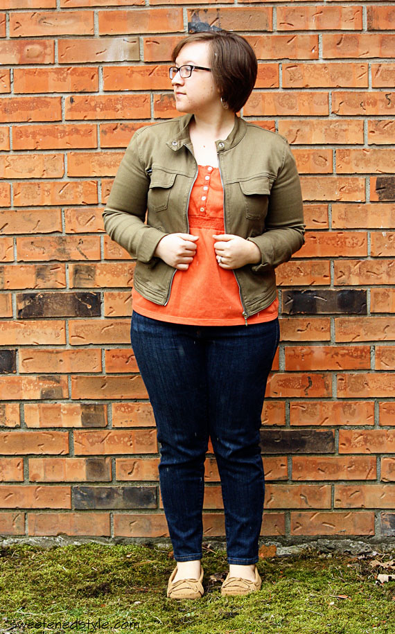 orange + olive, skinny jeans, moccs