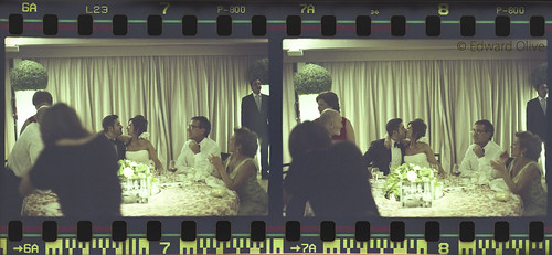 Negatives 7 & 8 - Bride & groom, parents, table, curtains, roof at slanted angle, assorted other guests & waiters by Edward Olive Actor Photographer Fotografo Madrid