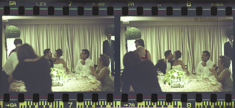 Negatives 7 & 8 - Bride & groom, parents, table, curtains, roof at slanted angle, assorted other guests & waiters