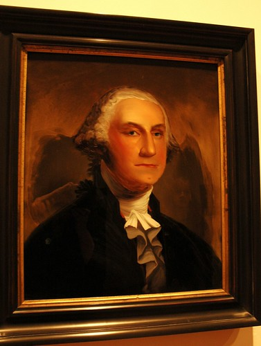 Portrait of George Washington, figure in background, De Young Museum, San Francisco, California, USA by Wonderlane