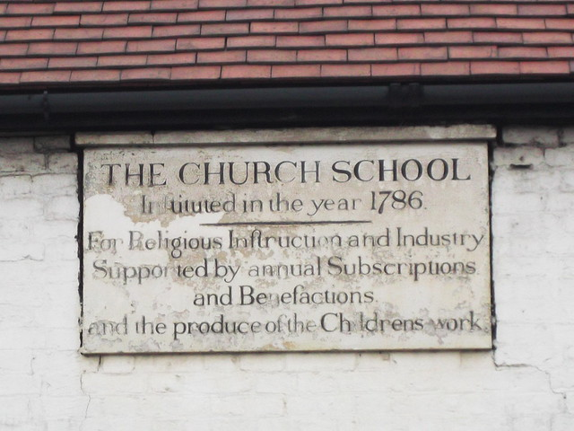 Stone plaque № 12260 - The  Church School Inftituted in the year 1786. |For Religious Infruction and Industry Supported by annual Subscriptions and Benefactions and the produce of the Childrens work
