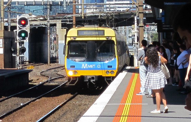 A train approaches North Melbourne station