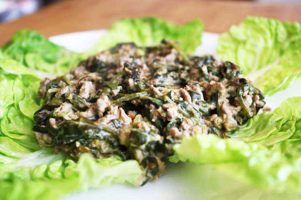 Low Carb Keto Minced Beef Spinach Bake