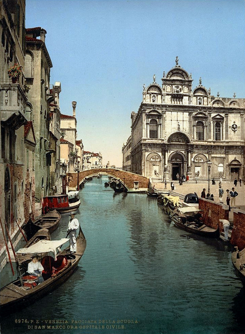 Before St. Mark's and public hospital, Venice, Italy