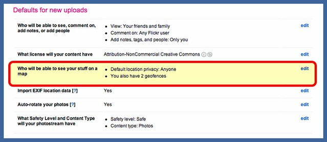Flickr privacy settings