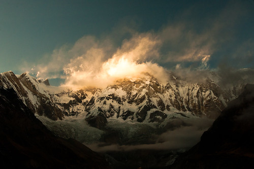 nepal sunset mountain clouds trekking evening december hiking annapurnabasecamp abctrek annapurna1 annapurnaone