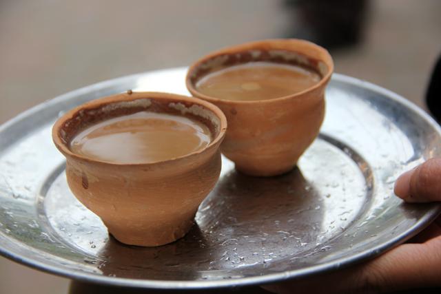 Chai in a clay cup in Kolkata, India