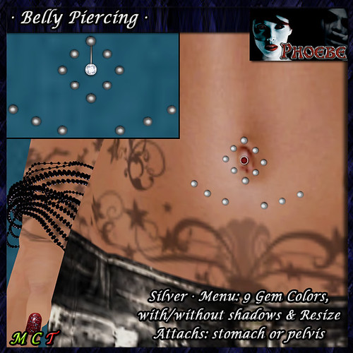 [$50L PROMO] *P*  Belly Piercing M3 ~Silver-9 Gem Colors~