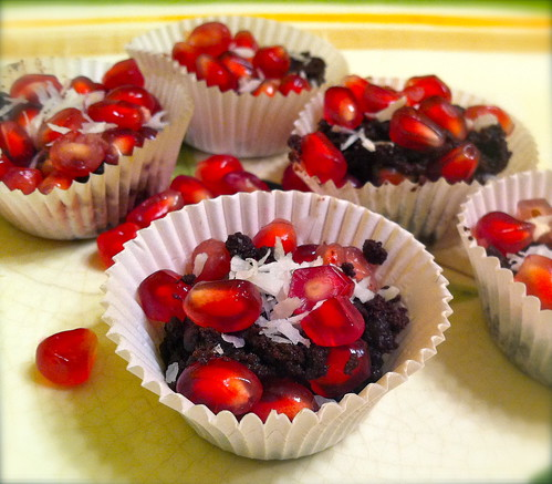 Pomegranate Coconut with TCHO Dark Chocolate Clusters