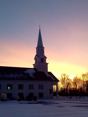 cameraphone winter ohio snow cold church sunrise steeple bellbrook 24365 flickrandroidapp:filter=none kkfrombb jan2013 365moments2013 24jan2013