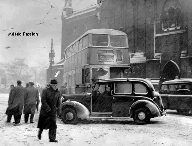 blizzard et neige à Glasgow durant l'hiver 1947 météopassion