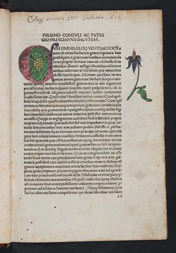 Decorated initial in Priscianus: Opera