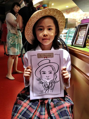 caricature live sketching for Au Chocolat Opening - 1