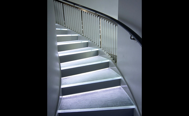 Stairs glass treads with LED lights.