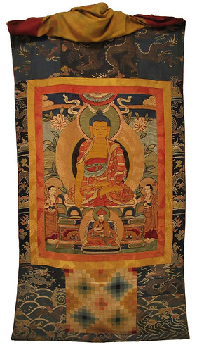 020-Bhutanese Drukpa applique Buddhist lineage thonka with Shakyamuni Buddha in center, 19th century, Ruben Museum of Art