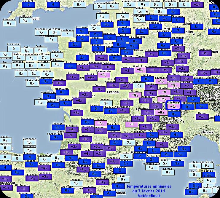 températures minimales froides et gelées matinales du 7 février 2011 météopassion