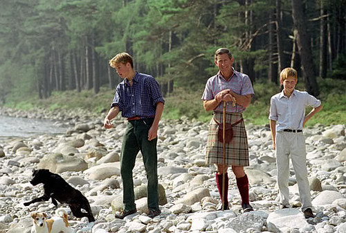 1997 Charles, William and Harry in Balmoral Estate. August 1997, pictured just 15 days before Diana's death..