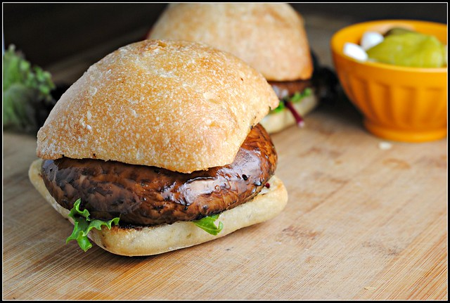 Meatless Monday: Balsamic and Pesto Goat Cheese Portobello Burgers
