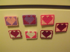 Plastic Canvas Heart Magnets