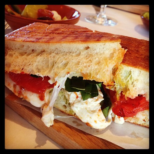 Ah-mazing roasted tomato, mozzarella and basil panini for lunch today.