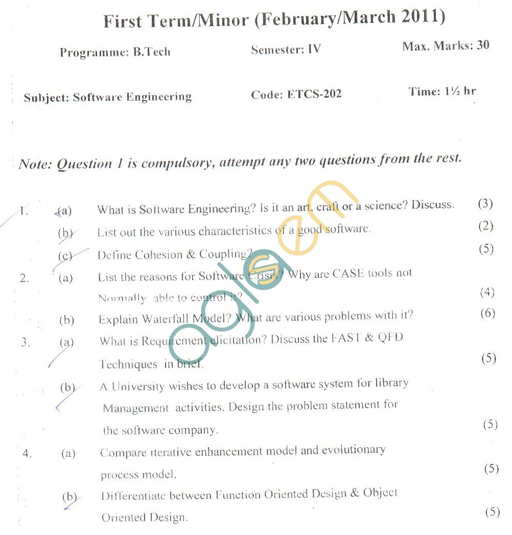 GGSIPU Question Papers Fourth Semester – First Term 2011 – ETCS-202