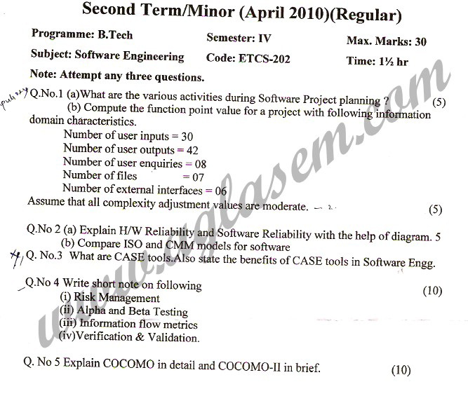 GGSIPU Question Papers Fourth Semester – Second Term 2010 – ETCS-202
