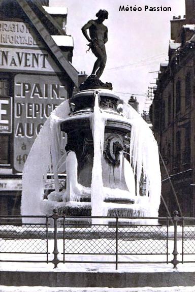 fontaine gelée à Dijon lors de la vague de froid de février 1929 météopassion
