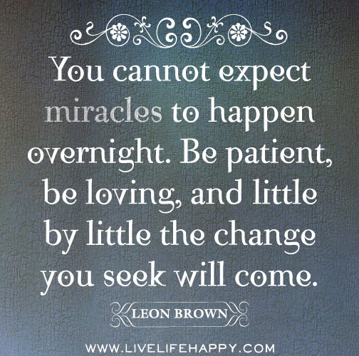 You cannot expect miracles to happen overnight. Be patient, be loving and little by little the change you seek will come. -Leon Brown