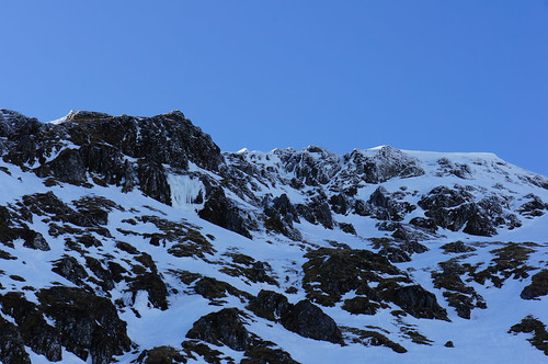 Ice conditions on the East face of Creag na Caillich