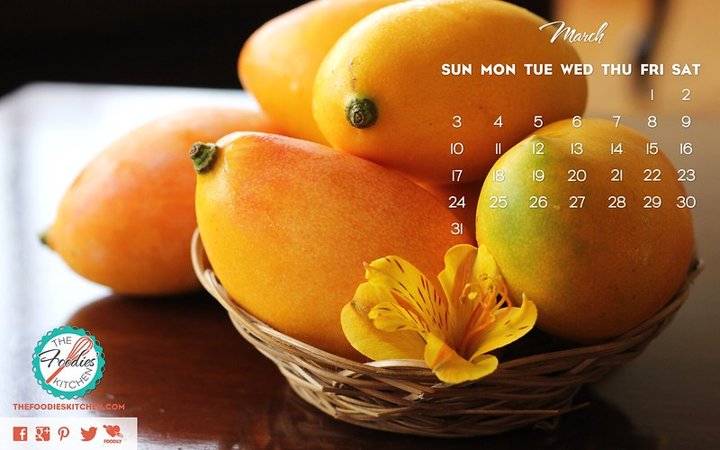 Foodies Freebie: March 2013 Desktop Calendar