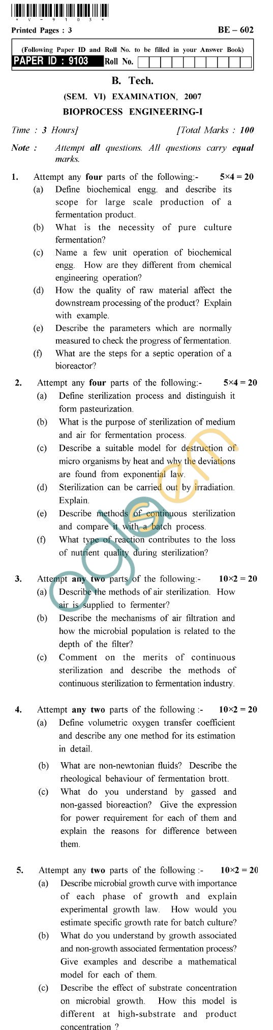 UPTU B.Tech Question Papers - BE-602 - Bioprocess Engineering-I