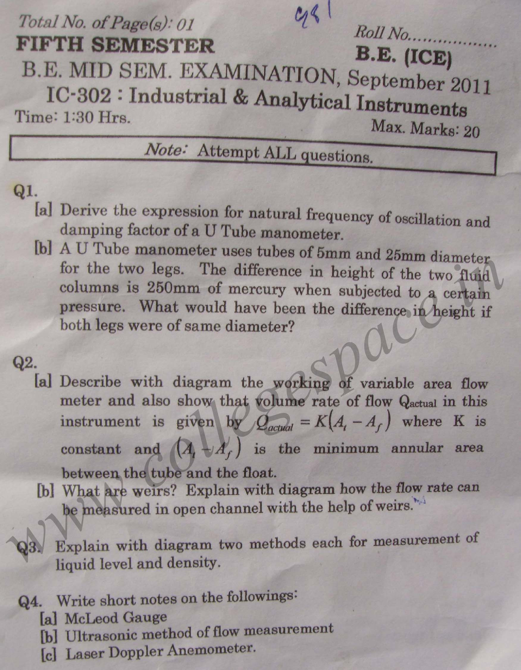 NSIT: Question Papers 2011 – 5 Semester - Mid Sem - IC-302