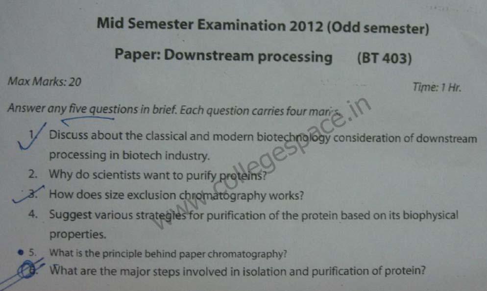 NSIT Question Papers 2012 – 7 Semester - Mid Sem - BT-403