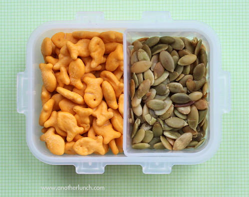 school snack Goldfish crackers and pumpkin seed kernels