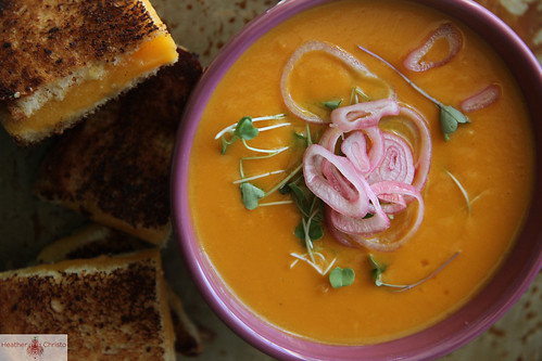 Sweet Potato, Carrot and Cheddar Soup