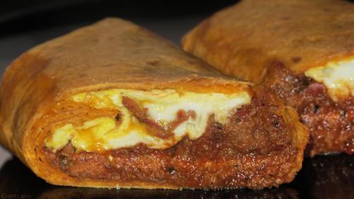 Bacon chili breakfast burrito by Coyoty