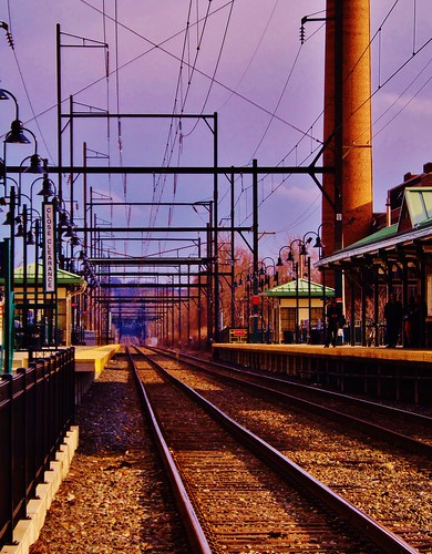 railroad travel usa architecture train landscape cityscape pa trainstation rails ambler trainsetc