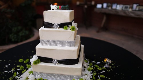 Black, White, and Rhinestone Tiered Cake