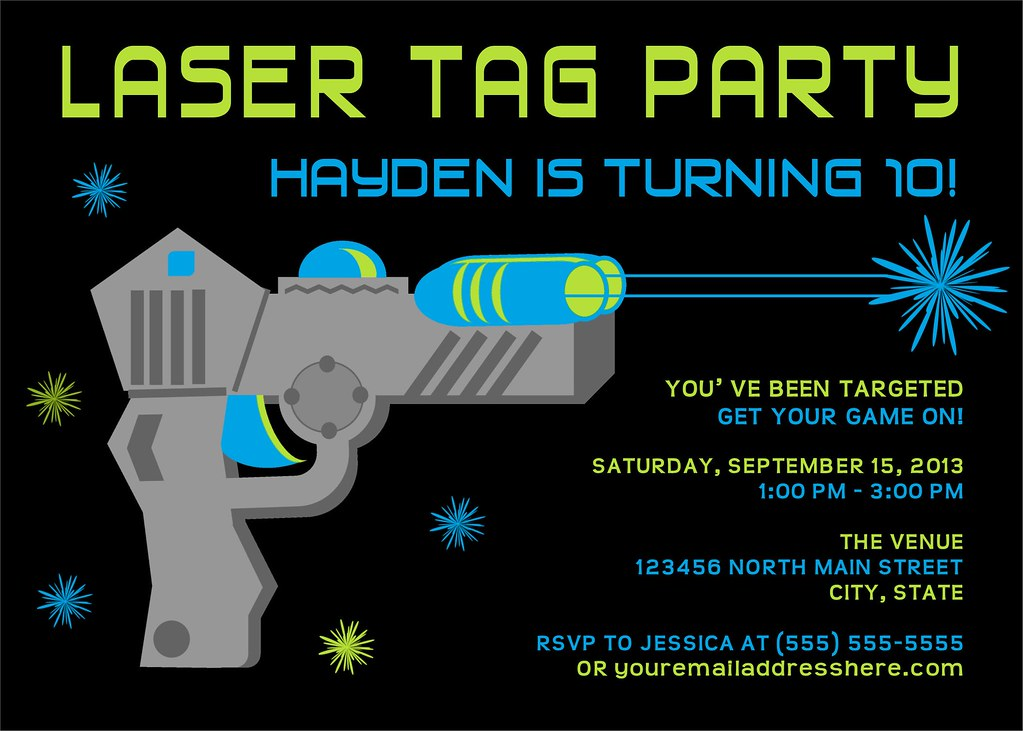 Printable Laser Tag Birthday Party Invitation - a photo on Flickriver