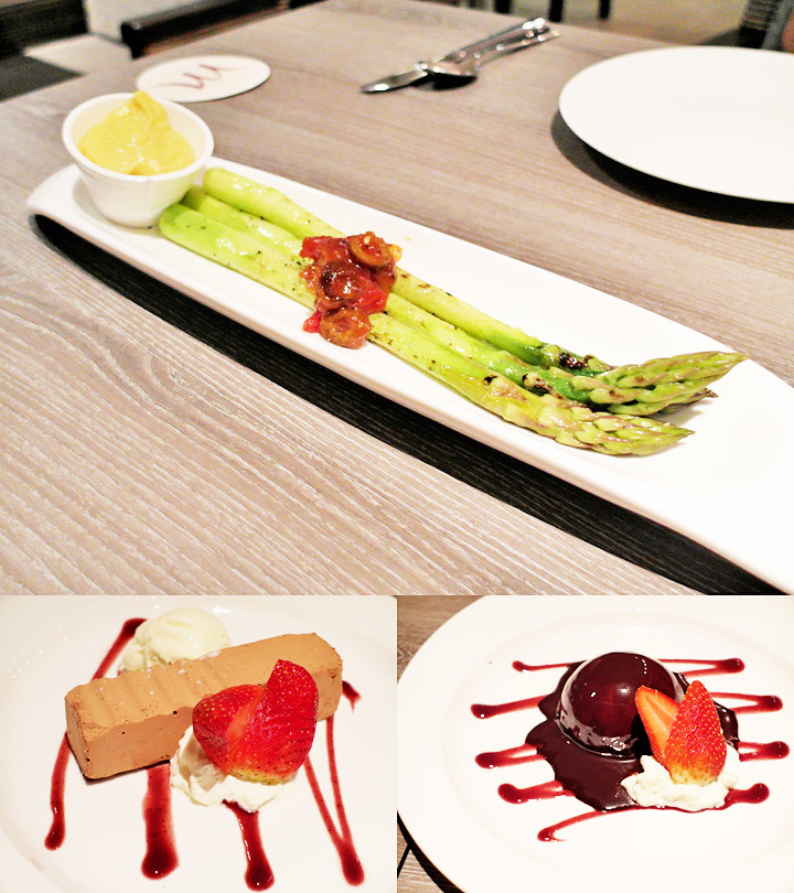 asparagus and dessert breeze bistro bar at grand mercure roxy hotel