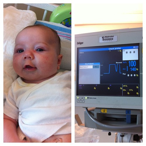 Look at me!  O2 sat at 100 and my oxygen tube is out!  If I keep this up than I get to go home!!!  Please keep praying!