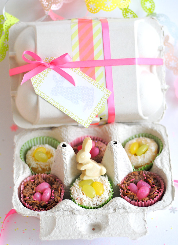 Easter egg box filled with sweet treats