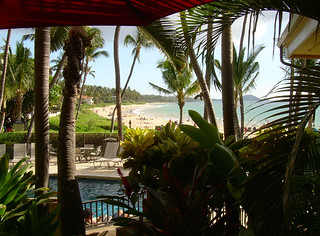 Hawaiian Happy Hour, Five Palms Restaurant in Kihei, Maui, Beach Front View