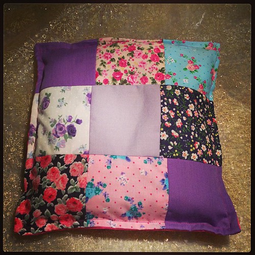 Amelie's first patchwork cushion.