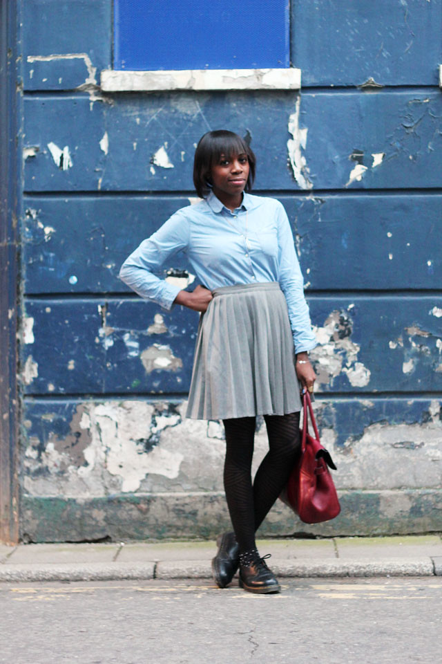levis made and crafted Denim shirt and grey weekday pleated skirt
