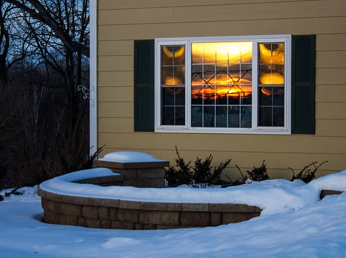 morning orange sun white snow cold reflection green yellow wall skyline landscape early beige bright frame shutters yew grille siding taxus foreground spreading mullion sshaped