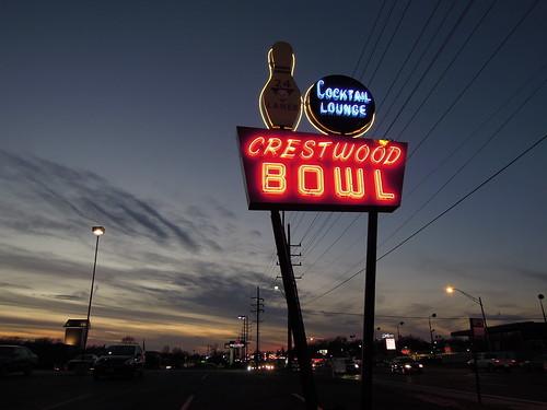 sunset sign vintage route66 dusk working restored neonsign bowlingalley bowlingpin litup cocktaillounge crestwoodbowl watsonrd crestwoodmo mo366 bowlingballandpin