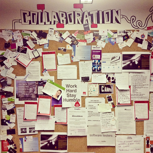Google Campus notice board titled Collaboration