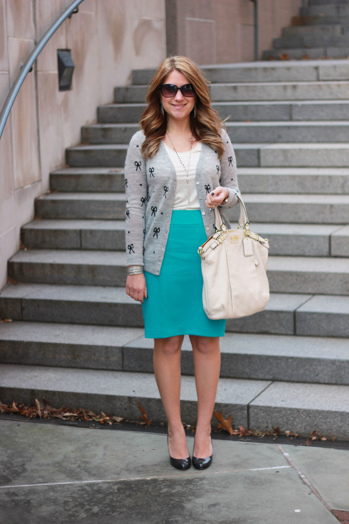 sequin bow cardigan outfit