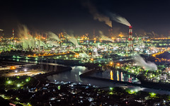 [Free Images] Architecture, Factory, Night View, Landscape - Japan, Smoke ID:201301272000